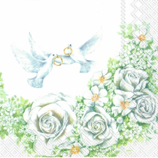 Guardanapo 1400 - Romantic Doves - 33x33cm